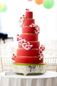 brightly coloured sugar orchid cake