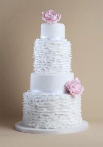 Frilly peony wedding cake