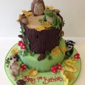 Woodland scene birthday cake