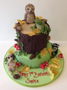 Woodland animal scene birthday cake