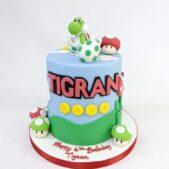 Yoshi and Super Mario themed 6th birthday cake