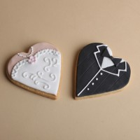 Bride and Groom heart shaped cookies