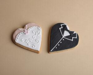 Bride and Groom heart shaped cookies