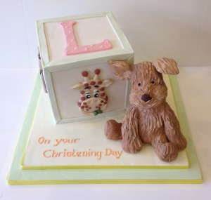 Bear and initial christening cake