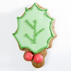 christmas holly cookie