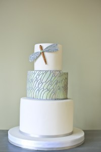 dragonfly themed wedding cake