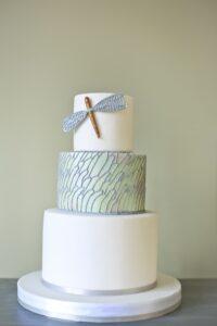 dragonfly themed wedding cake