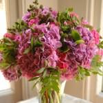 Bunch of pink wedding flowers