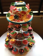Funky coloured wedding cake cupcakes