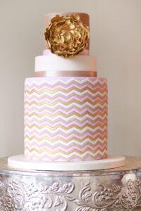 Chevron wedding cake, gold chevron cake