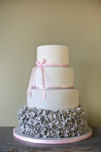 Grey and pink ruffle wedding cake