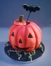 Ghoulish pumpkin cake