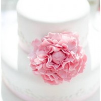 Wedding cake with pink peony flower
