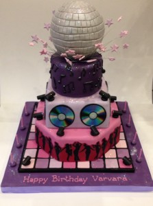 Disco birthday cake tiered disco cake