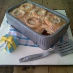 Lasagne and onion rings cake