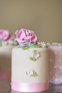 Miniature rose wedding cakes