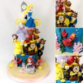 multiple disney character cake