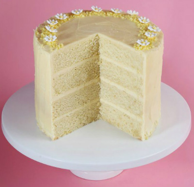 Multi tiered lemon drizzle celebration cake