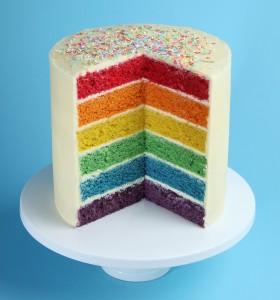 Rainbow design patisserie cake