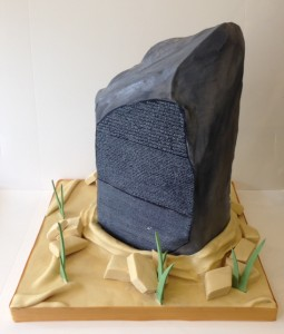 Rosetta stone corporate cake