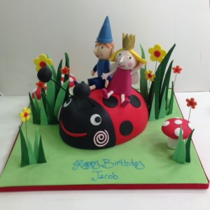 Gaston ladybird cake Ben and Holly birthday cake