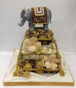 Indian elephant wedding cake muted colours