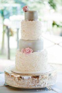 Ruffled sugar rose wedding cake