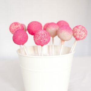 Pink sparkly cake pops
