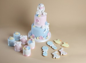 christening cake, mini cakes and cookies