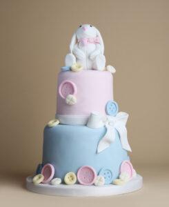Rabbit & Buttons Christening Cake
