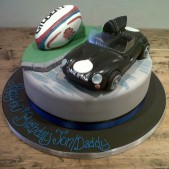 rugby and car themed cake