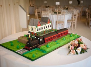 Station themed train wedding cake