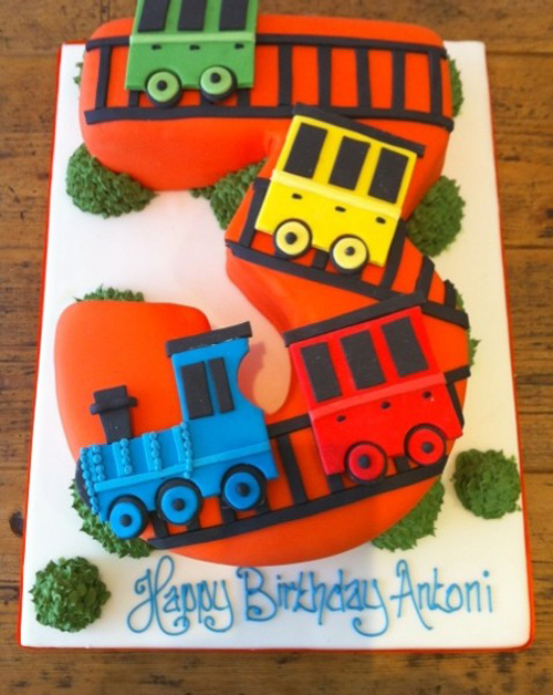 Trains number 3 birthday cake
