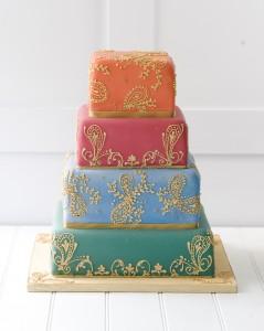 multi-coloured modern wedding cake