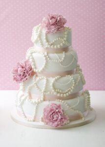 Pink pearls wedding cake