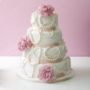 Pink pearls wedding cake
