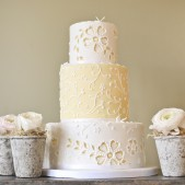 yellow lace cake and stone flowers