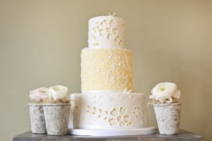 Yellow and white broderie anglaise wedding cake