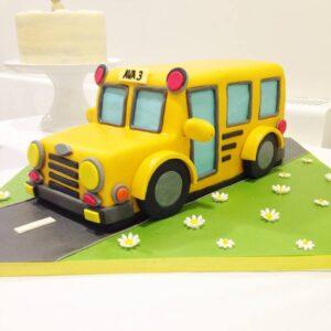 Yellow school bus birthday cake
